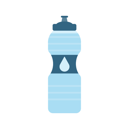 Plastic sport bottle with water. Small bottle of water. With drop on label. Vector illustration Illustration