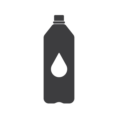 nonalcoholic: Black Plastic bottle silhouette with water. Small bottle of water. With drop. Vector illustration