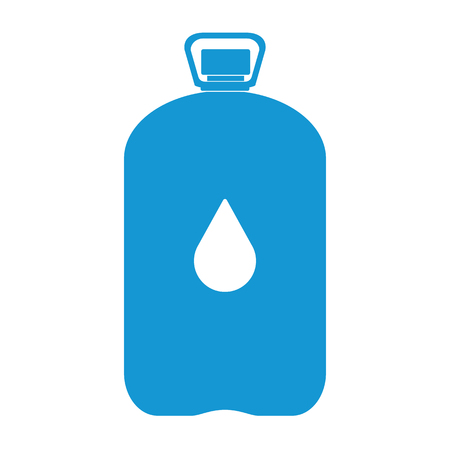 Blue Plastic bottle silhouette with water. Big bottle of water. With drop. Vector illustration