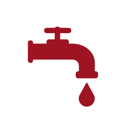 Modern Water Faucet with drop icon. Red silhouette. Vector illustration. Illustration