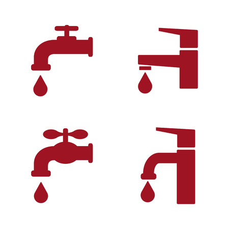 Water faucets set. Red silhouette icons with drops. Vector illustration.