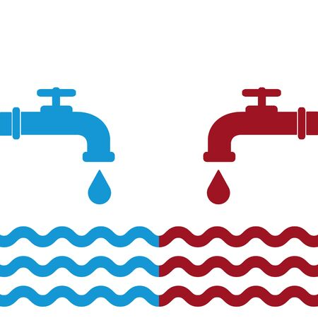 Opened blue and red water faucets with drop and water waves. Flat icon. Cold and hot water. Vector illustration. Illustration