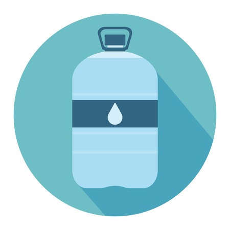 bottled: Plastic bottle with water. Big bottle of water. With drop on label. Flat web icon. Vector illustration Illustration