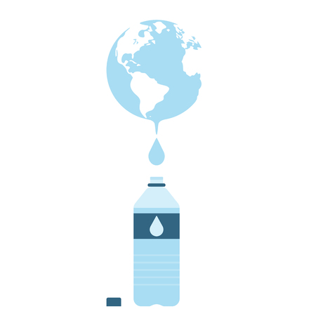 water supply: Earth globes with water drop and bottle of water supply. Concept of water resources. Vector illustration. Illustration
