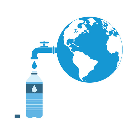 Earth with a tap leaking water in bottle. A metaphor on global water waste. Vector illustration Illustration
