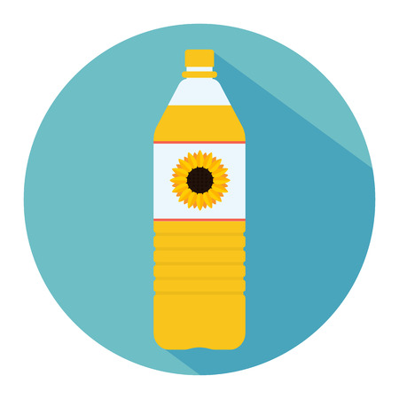 Plastic bottle of sunflower oil. Small bottle of sunflower oil. With sunflower on label. Flat web icon. Vector illustration