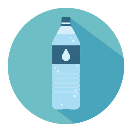Plastic bottle with water. Small bottle of water. With drop on label. Flat web icon. Vector illustration