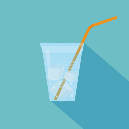 plastic straw: Plastic cup of water with bubbles, ice cubes and orange straw. Flat design. Vector illustration