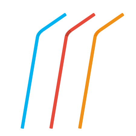 Plastic straws for cocktail set. Orange, red, blue straws. Vector illustration Illustration
