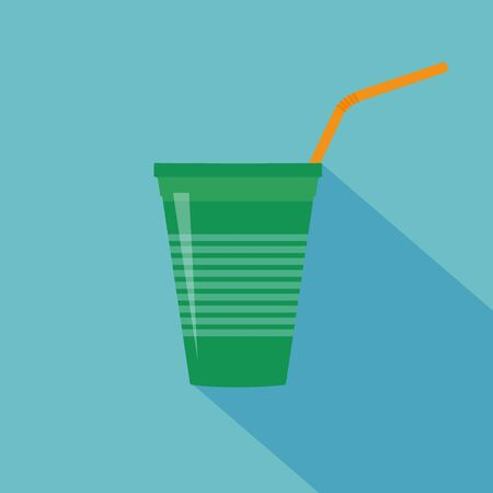 Plastic green cup with water straw. Flat design. Vector illustration