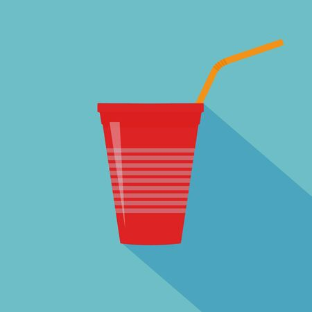 Plastic red cup with water straw. Flat design. Vector illustration