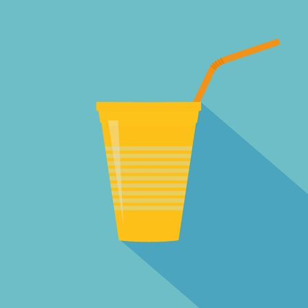 Plastic yellow cup with water straw. Flat design. Vector illustration