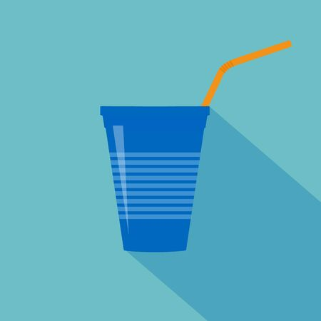 Plastic blue cup with water straw. Flat design. Vector illustration