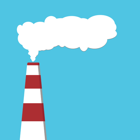 Pollution of environment from industry smoke co2 emitting. Pipes. Air pollutant. illustration