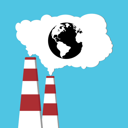 Pollution of environment from industry smoke co2 emitting. Earth in smoke. Pipes. Air pollutant. illustration