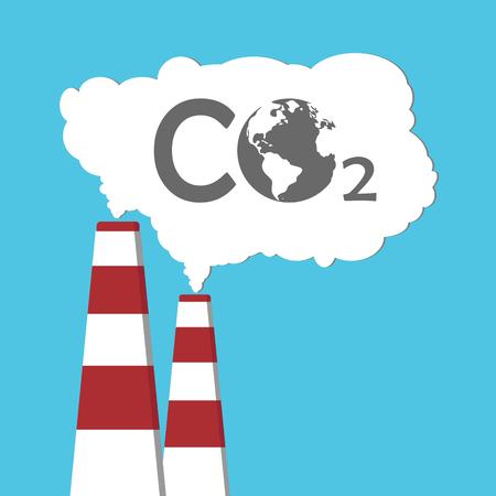 産業煙 co2 排出からの環境汚染。煙の中の地球。パイプ。大気汚染物質の。図