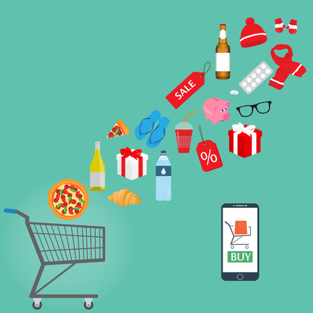 Online shopping concept. Goods, food and products fly into the shopping trolley. Smartphone. Vector illustration