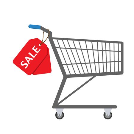 Shopping trolley with sale tag. Vector illustration