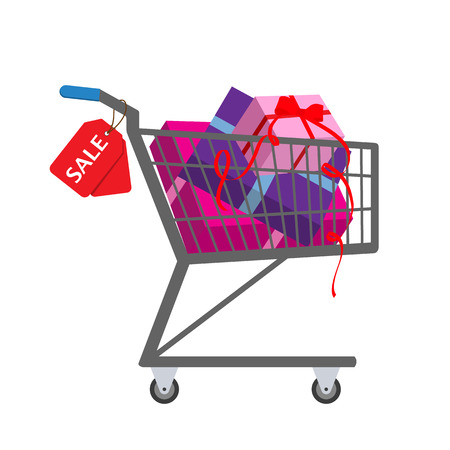 pushcart: Shopping trolley full gift boxes with sale tag. Vector illustration