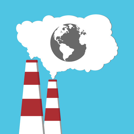 Pollution of environment from industry smoke co2 emitting. Earth in smoke. Pipes. Air pollutant. Raster illustration Stock Photo
