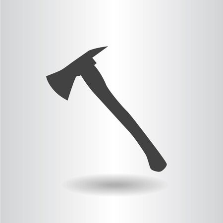 dangerous work: icon silhouette fire axe black isolated flat raster illustration