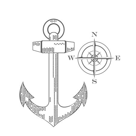 rosa de los vientos: Nautical emblem. Anchor and wind rose. Flat design. Icons. raster illustration Foto de archivo