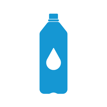 bottled: Blue Plastic bottle silhouette with water. Small bottle of water. With drop. Raster illustration