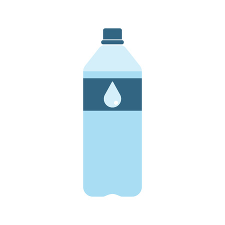 purified: Plastic bottle with water. Small bottle of water. With drop on label. Raster illustration