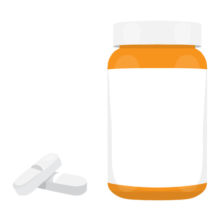prescription bottles: Medicines. Medical Plastic jar with the lid and pills. Bottle for pills. Raster illustration Stock Photo