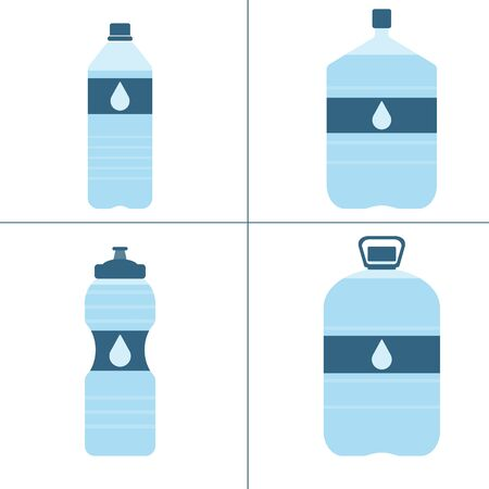 Set of plastic bottles with water. Small, big, sport bottle of water. With drop on label. Raster illustration