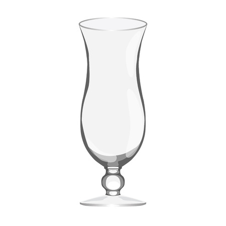tropical cocktail empty glass realistic isolated raster illustration