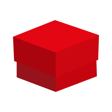 red gift box: cardboard gift box red raster illustration
