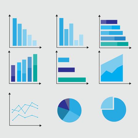 Infographic Datenmarktelemente des Geschäfts infographieren Punktstab-Kreisdiagrammdiagramme und flache Ikonen der Grafiken lokalisierte Rasterillustration