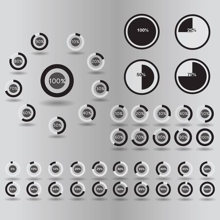 80 85: Business infographic icons template pie graph circle percentage black chart 5 10 15 20 25 30 35 40 45 50 55 60 65 70 75 80 85 90 95 100 % set illustration round raster Stock Photo