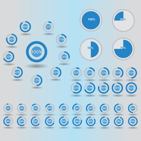 60 65: Business infographic icons template pie graph circle percentage blue chart 5 10 15 20 25 30 35 40 45 50 55 60 65 70 75 80 85 90 95 100 % set illustration round raster