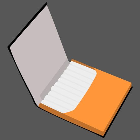 pernicious habit: orange cigarette case raster illustration Stock Photo