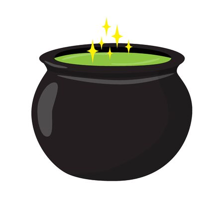 Cauldron with strong green potion for Halloween. Raster illustration