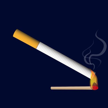 pernicious habit: isolated classical cigarette with burning match flame realistic smoke raster illustration