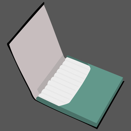 baccy: green cigarette case raster illustration