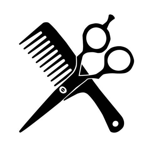 Barber comb and scissor black silhouette icon. Raster illustration Stock Photo