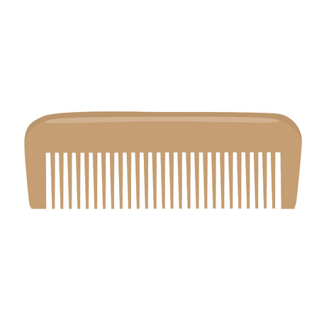 personal grooming: Comb , Barber comb, wooden comb raster illustration