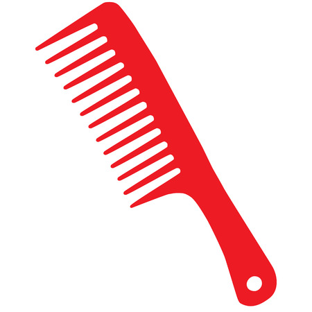 comb: barber comb red raster illustration Stock Photo