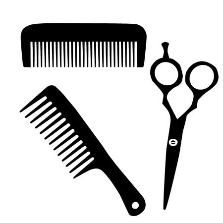 Barber comb and scissor black silhouette icon. Raster illustration Stock Photo
