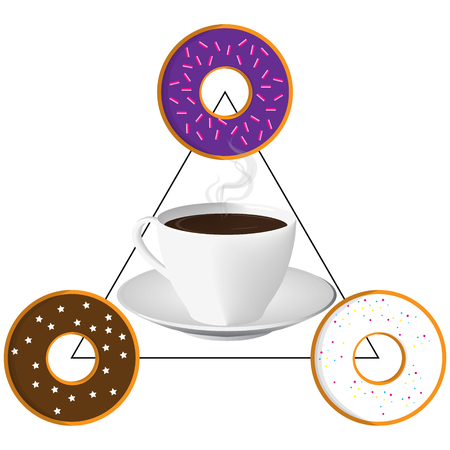 sweet tasty fried glazed colorful donuts cup of coffee breakfast triangle set raster illustration
