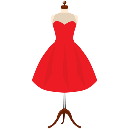 Classic womens red dress template. A red dress on mannequin raster illustration