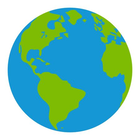 flat earth: Earth globes isolated on white background. Flat planet Earth icon. Raster illustration. Stock Photo