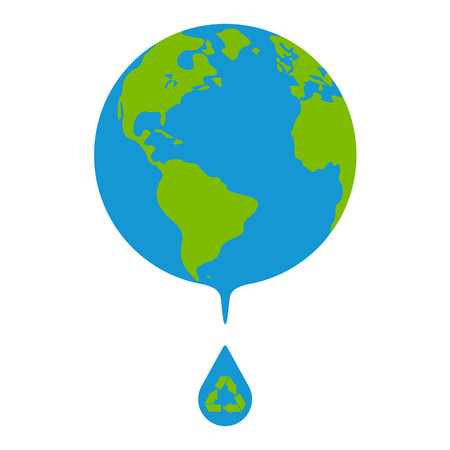 Earth globes isolated on white background. Concept of water resources. Drop of water with recycle sign. Flat planet Earth icon. Raster illustration.