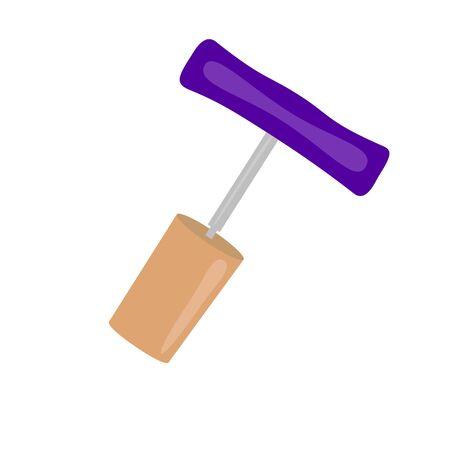 gimlet: cork and corkscrew raster illustration