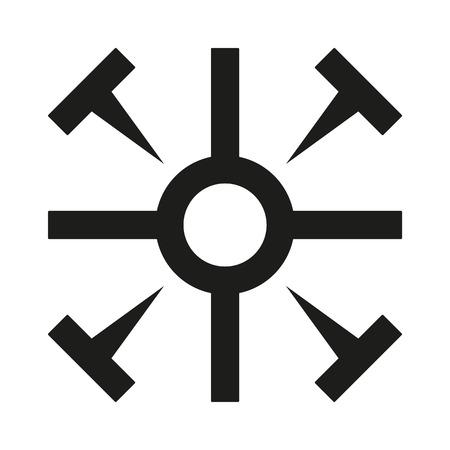 Coptic cross Icon black silhouette. Ancient Christian sign. Raster illustration.