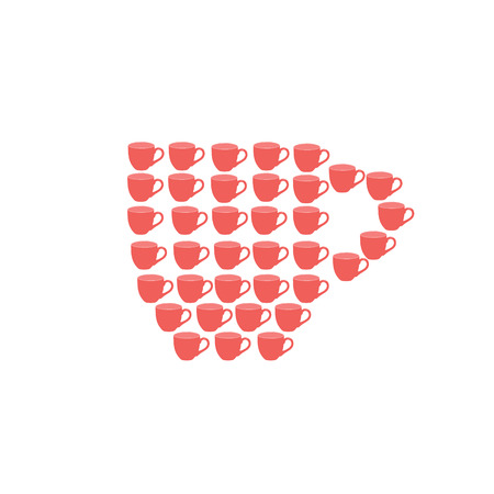 Red Cup made of cups. Concept. Isolated. Cups set. raster illustration